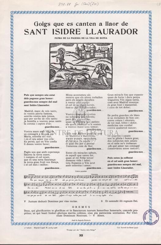 Goigs que es canten a llaor de sant Isidre Llaurador patró de la pagesia de la vila de Batea.