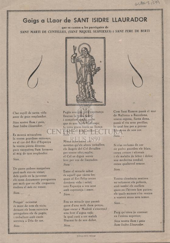 Goigs a Llaor de Sant Isidre Llaurador que es canten a les parròquies de Sant Martí de Centelles, (Sant Miquel Sesperxes) i Sant Pere de Berti