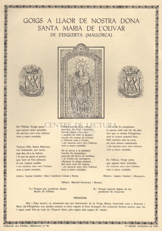 Goiga a llaor de Nostra Dona Santa Maria de l'Olivar de s'Esgleieta (Mallorca)