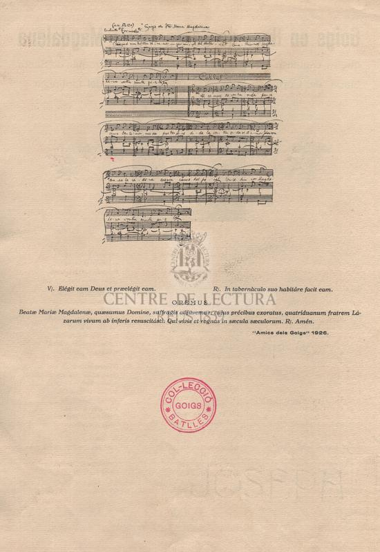 Goigs en llaor de Santa María Magdalena que es canten a la Parroquia de Santa María de Corbera del Llobregat.