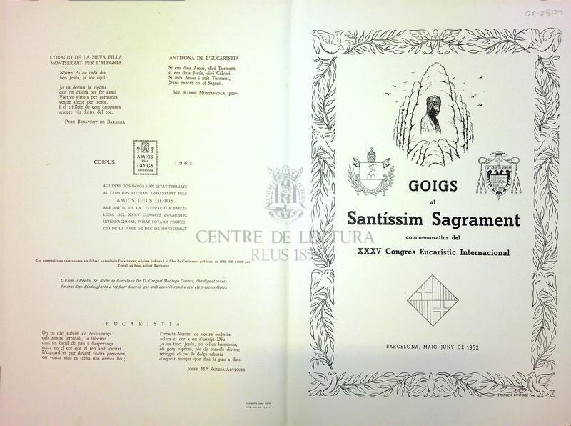 Goigs al Santíssim Sagrament commemoratius del XXXV Congrés Eucarístic Internacional