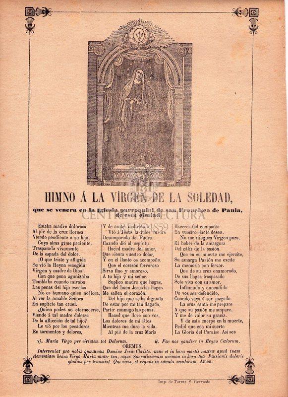 Himno á la Vírgen de la Soledad, que se venera en la Iglesia parroquial de san Francisco de Paula, de esta ciudad