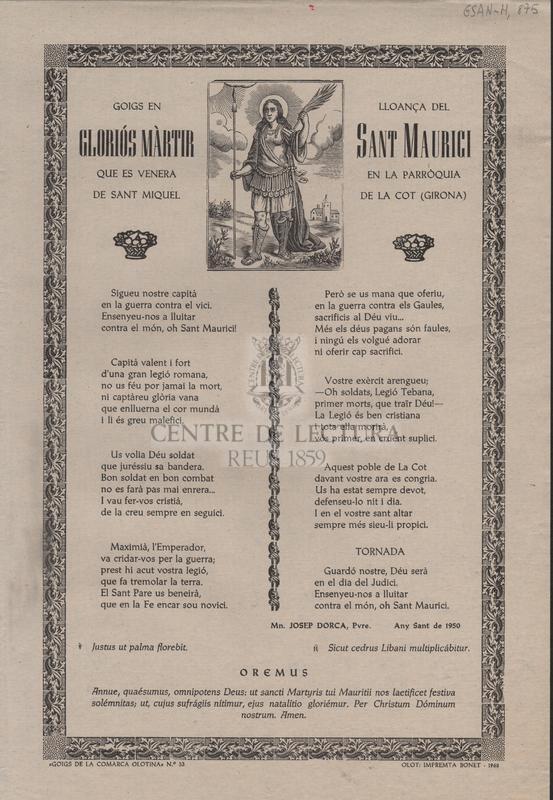 Goigs en lloança del gloriós màrtir Sant Maurici que es venera en la Parròquia de Sant Miquel de la Cot (Girona)