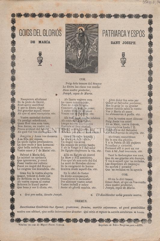 Goigs del gloriós Patriarca y Espós de Maria, Sant Joseph
