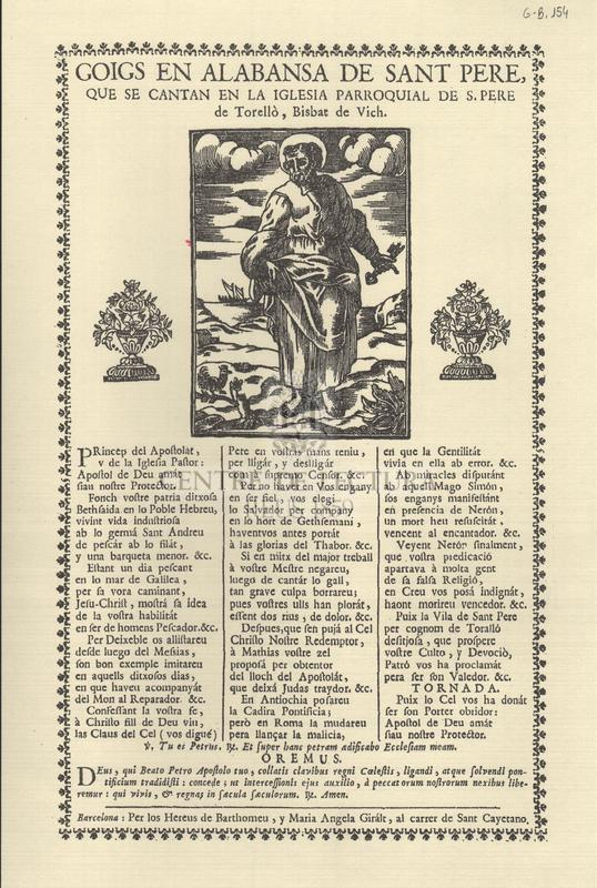 Goigs en alabansa de Sant Pere, que se cantan en la Iglesia Parroquial de S. Pere de Torellò, Bisbat de Vich