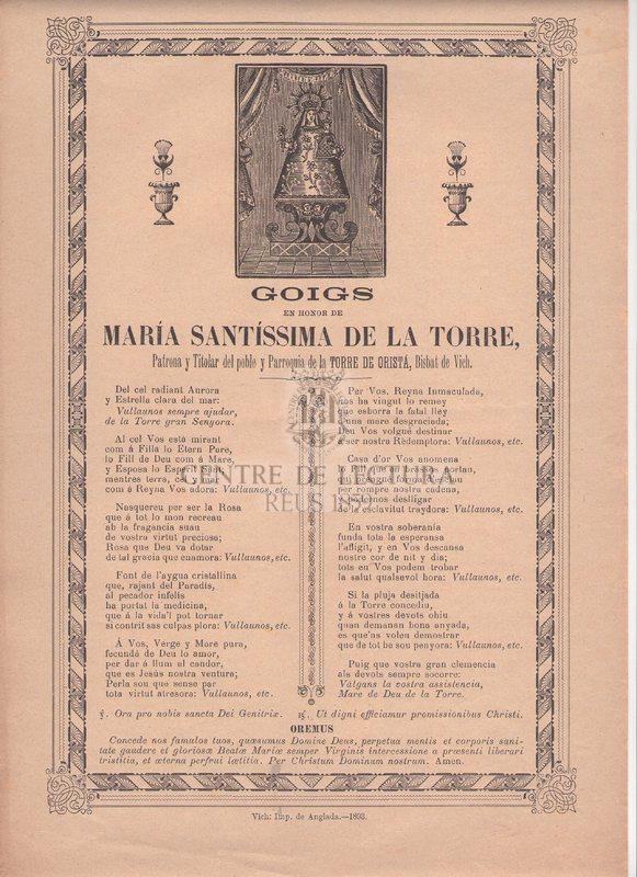 Goigs en honor de María Santíssima de la Torre, Patrona y Titolar del poble y Parroquia de la Torre de Oristá, Bisbat de Vich