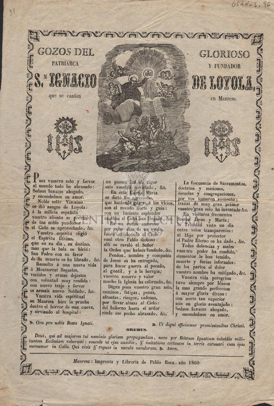 Gozos del glorioso patriarca y fundador S,n Ignacio de Loyola que se cantan en Manresa