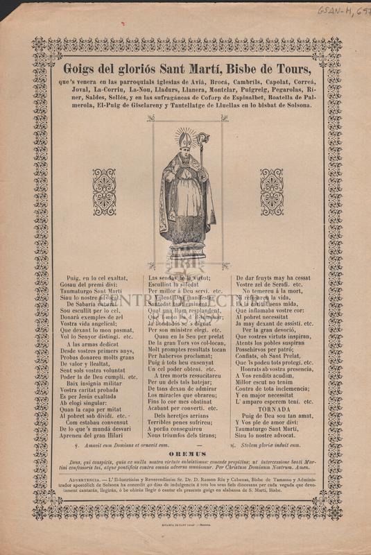 Goigs del gloriós Sant Martí, Bisbe de Tours, que's venera en las parroquials iglesias de Aviá, Brocá, Cambrils, Capolat, Correá, Joval, La-Corriu, La-Nou, Lladurs, Llanera, Montclar, Puigreig, Pegarolas, Ríner, Saldes, Sellés, y en las sufragáneas de Coforp de Espinalbet, Boatella de Palmerola, El-Puig de Gisclareny y Tantellatge de Lluellas en lo bisbat de Solsona