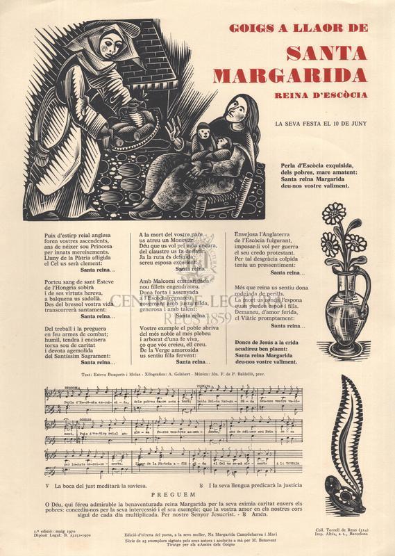 Goigs a llaor de santa Margarida reina d'Escòcia, la seva festa el 10 de juny