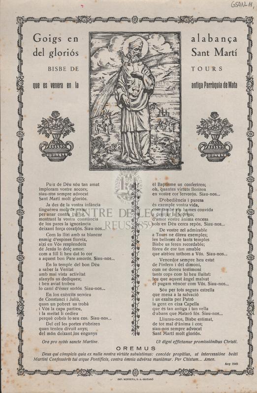Goigs en alabança del gloriós Sant Martí, Bisbe de Tours que es venera en la anttiga Parròquia de Mata