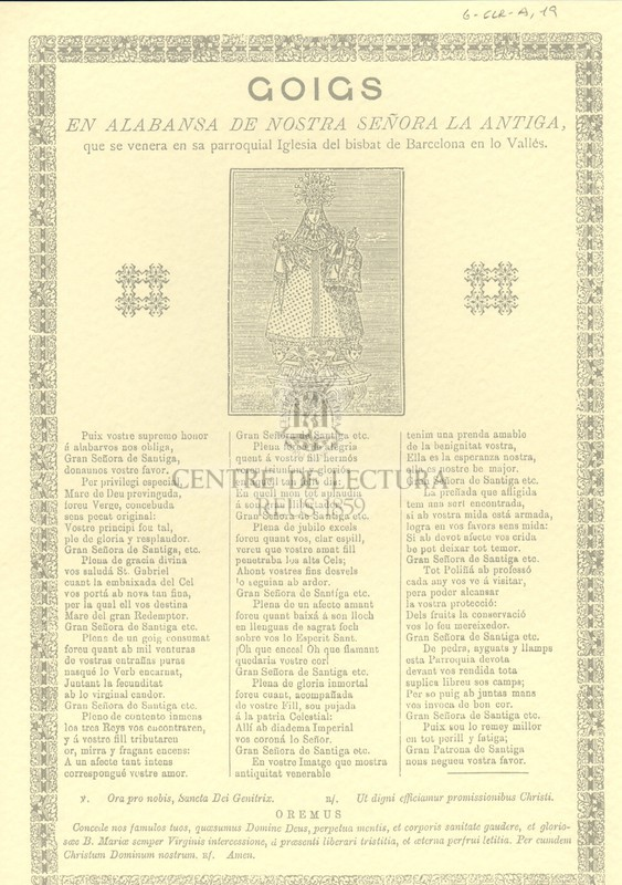Goigs en alabansa de nostra señora La Antiga, que se venera en sa parroquial Iglesia del bisbat de Barcelona en lo Vallès