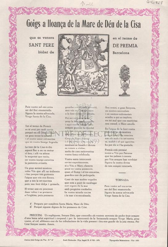 Goigs a lloança de la Mare de Déu de la Cisa que es venera en el terme de Sant Pere de Premià, bisbat de Barcelona