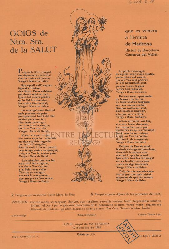 Goigs de Ntra. Sra. de la Salut que es venera a l'ermita de Madrona, Bisbat de Barcelona, comarca del Vallès