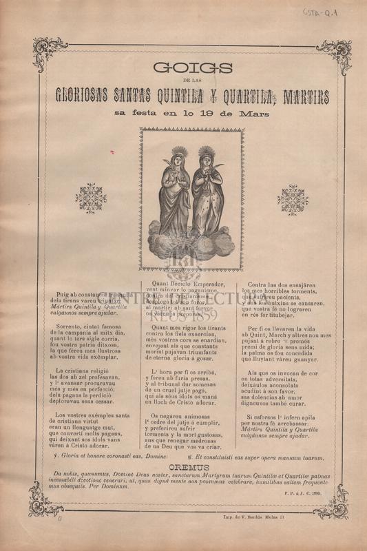 Goigs de las gloriosas Santas Quintila y Quartila, martirs. Sa festa en lo 19 de Mars.