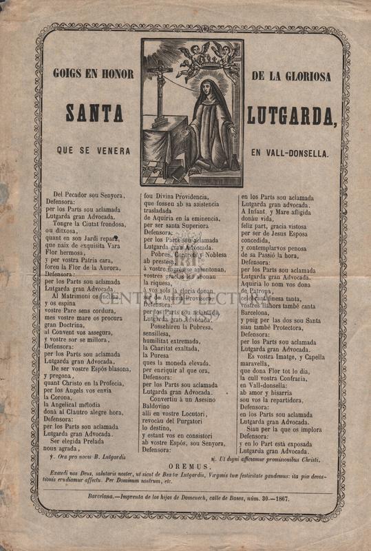 Goigs en honor de la gloriosa santa Lutgarda, que se venera en Vall-Donsella