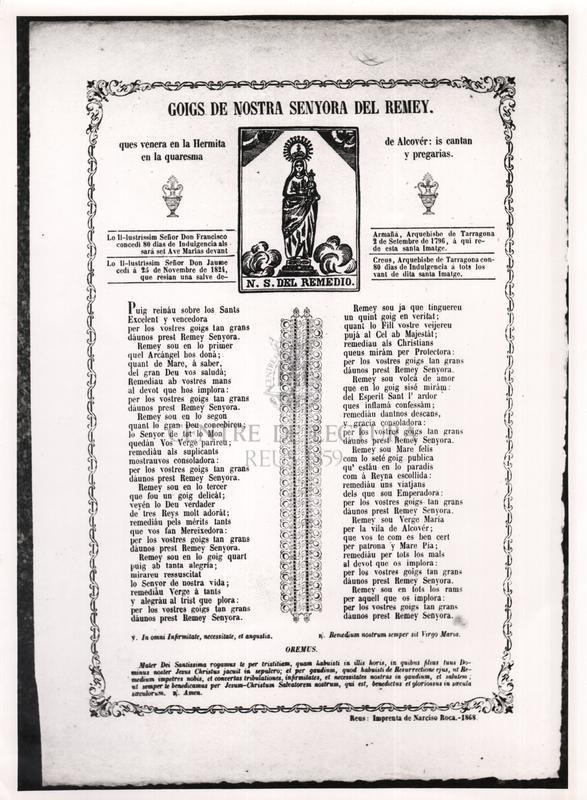 Goigs de Nostra Senyora del Remey ques venera en la hermita de Alcovér: is cantan en la quaresma y pregarias