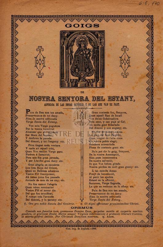 Goigs de Nostra Senyora del Estany, advocada de las donas estérils, y de les que van de part.