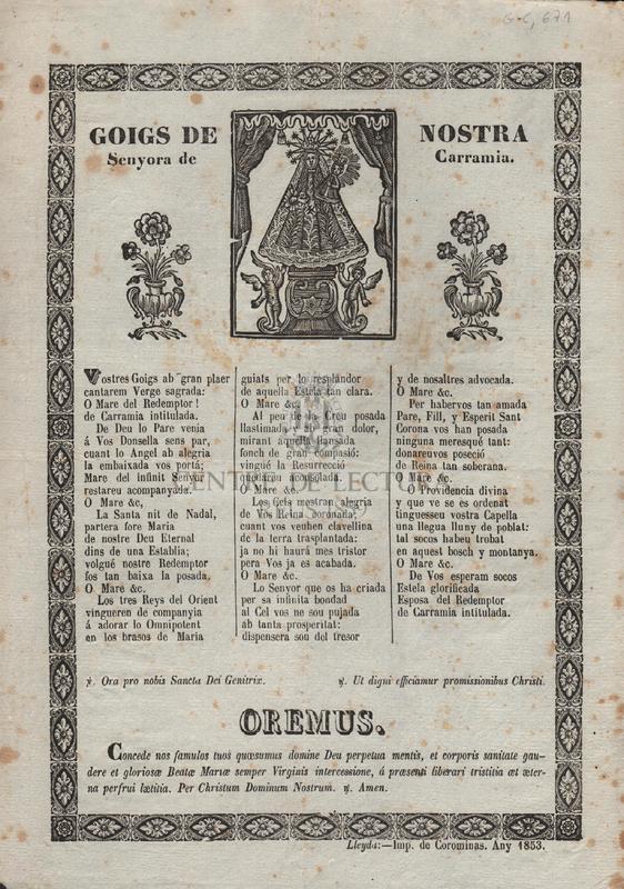 Goigs de Nostra Senyora de Carramia.