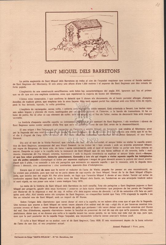 Goigs de l'arcàngel Sant Miquel que es canten en la seva devota ermita del Montseny