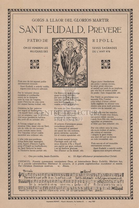 Goigs a llaor del glorios martir Sant Eudald, prevere, patro de Ripoll on es veneren les seves sagrades reliquies des de l'any 978