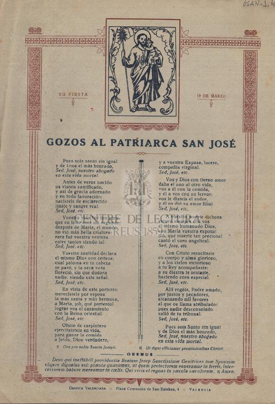 Gozos al Patriarca San José. Si fiesta 19 de Marzo