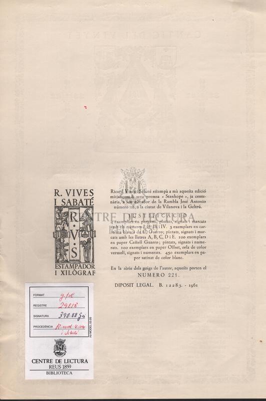 Cantic del Vinyet - Text original de S. Soler i Forment.