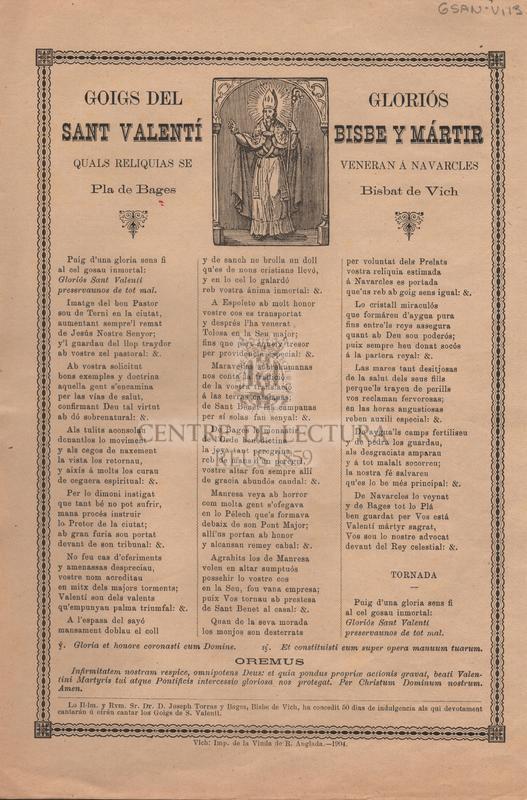Goigs del gloriós Sant Valentí Bisbe y Mártir quals reliquias se veneran á Navarcles Pla de Bages, Bisbat de Vich