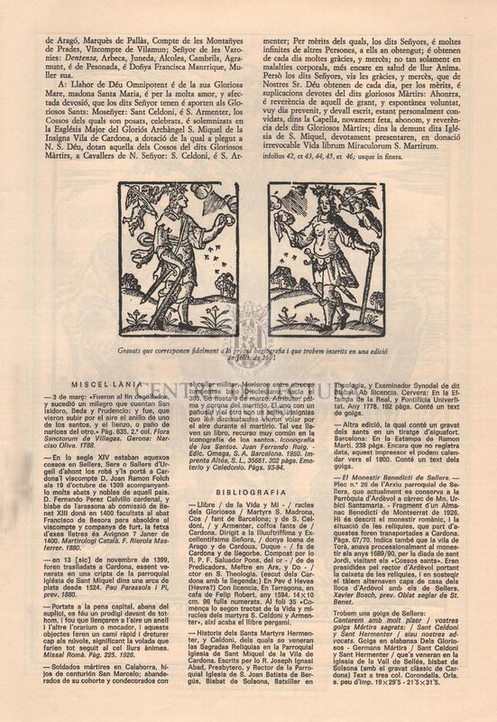 Goigs als gloriosos sants màrtirs Celdoni i Ermenter dels quals se'n veneren les relíquies a la Vila de Cardona i Comarca