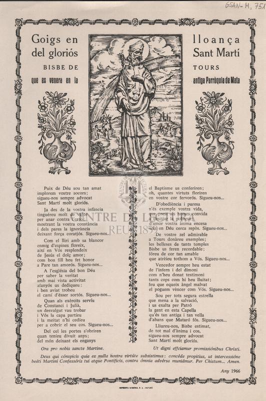 Goigs en lloança del gloriós Sant Martí Bisbe de Tours, que es venera en la antiga Parròquia de Mata