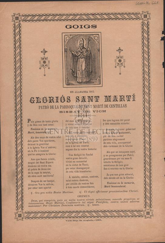 Goigs en alabansa del gloriós Sant Martí, patró de la parroquia de Sant Martí de Centellas. Bisbat de Vich