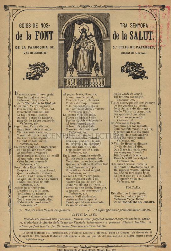 Goigs de Nostra Senyora de la Font de la Salut, de la Parroquia de St Feliu de Payarols, Vall de Hostóles, bisbat de Gerona