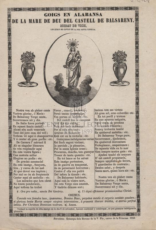 Goigs de la Mare de Déu del Castell de Balsereny, Bisbat de Vich, los qual se cantan en a sua Capella