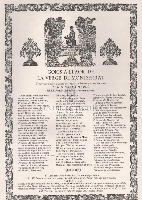 Goigs a llaor de la Verge de Montserrat.