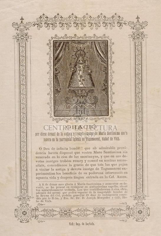 Oració per dirse devant de la antiga y trobada imatge de María Santíssima que's venera en la parroquial iglesia de Tagamanent, Bisbat de Vich