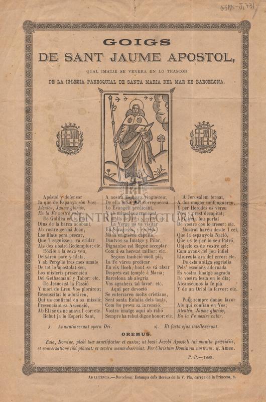 Goigs de sant Jaume apostol, qual imatge se venera en lo trascor de la iglesia parroquial de Santa Maria del Mar de Barcelona