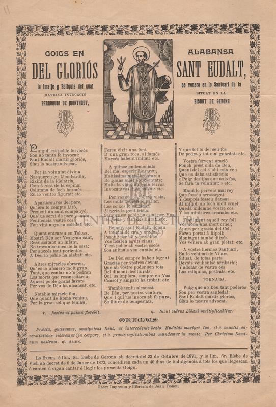 Goigs en alabansa del gloriós Sant Eudalt, la imatje y reliquia del qual se venera en lo Santuari de la mateixa invocació situat en la Parroquia de Montagut, Bisbat de Gerona