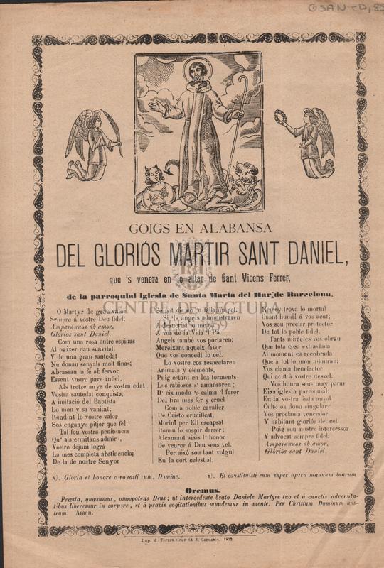 Goigs en alabansa del gloriós martir Sant Daniel, que's venera en lo altar de Sant Vicens Ferrer, de la parroquial Iglesia de Santa Maria del Mar, de Barcelona