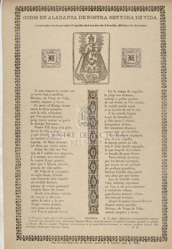 Goigs en alabanza de Nostra Senyora de Vida, venerada en sa propia Capella del terme de Cistella, Bisbat de Gerona