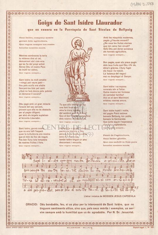 Goigs de Sant Isidre Llaurador que es venera en la Parròquia de Sant Nicolau de Bellpuig