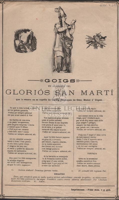 Goigs en alabansa del gloriós Sant Martí, que's venera en sa capella de Corilla, Parroquia de Gesa, Bisbat d'Urgell