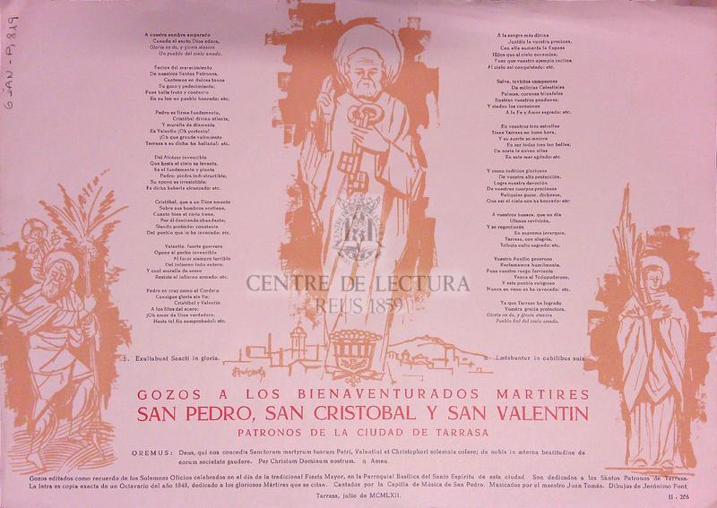Gozos a los bienaventurados martires San Pedro, San Cristobal y San Valentin patronos de la ciudad de Tarrasa