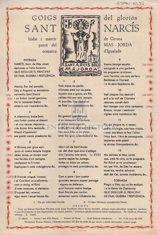 Goigs del gloriós Sant Narcís, bisbe i màrtir de Girona patró del Mas-Jordà comarca d'Igualada