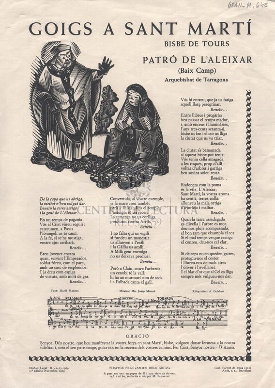 Goigs a Sant Martí, Bisbe de Tours, Patró de l'Aleixar (Baix Camp). Arquebisbat de Tarragona