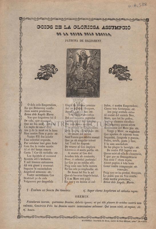 Goigs de la gloriosa assumpció de la reina dels Angels, patrona de Balsareny