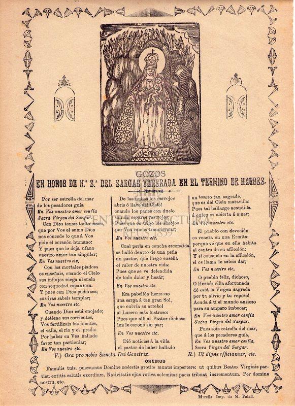 Gozos en honor de Nª. Sª. del Sagar venerada en el termino de Herbes