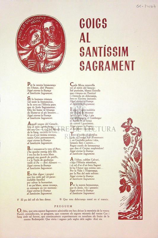 Goigs al Santíssim Sagrament