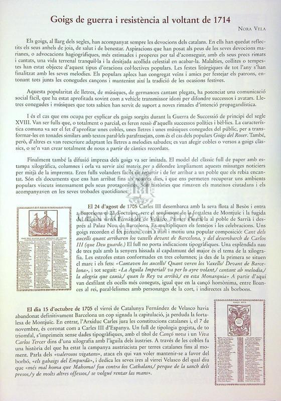 Goigs de guerra i resistència al voltant de 1714