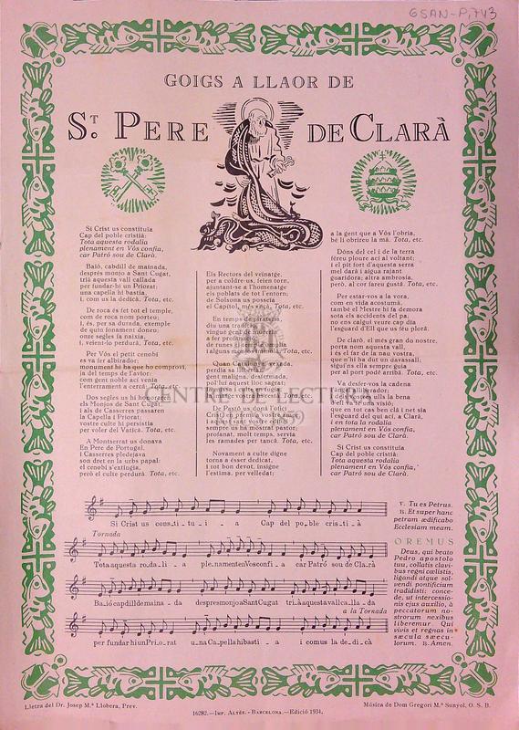 Goigs a llaor de St. Pere de Clarà