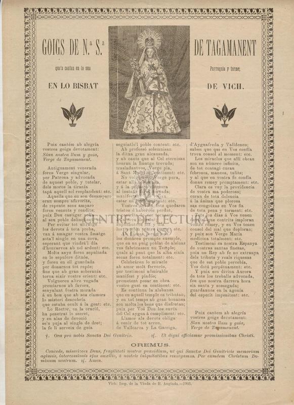 Goigs de Nª. Sª. de Tagamanent que's cantan en la sua Parroquia y terme, en lo Bisbat de Vich