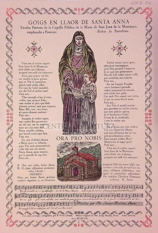 Goigs en llaor de Santa Anna. Excelsa Patrona de la Capella Pública de la Masia de Sant Joan de la Muntanya, emplaçada a Pontons. Bisbat de Barcelona